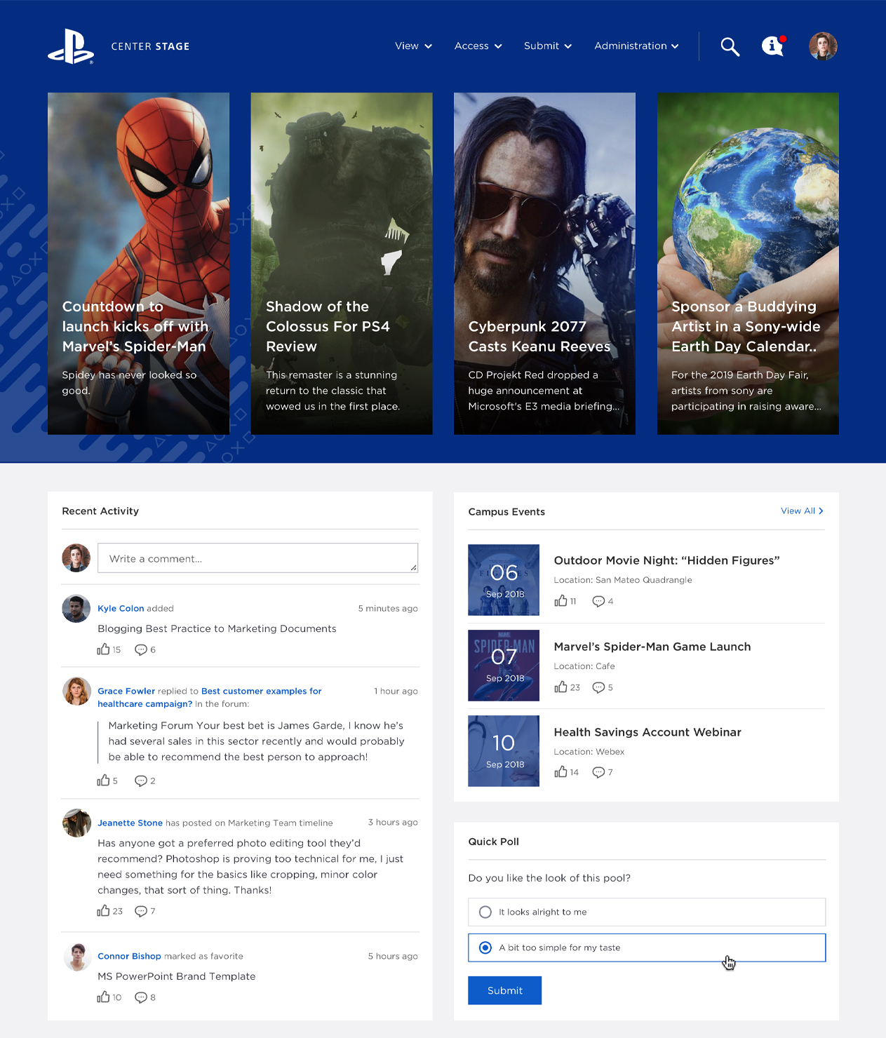 Sony homepage screenshot.